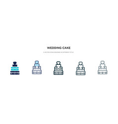 Wedding cake icon in different style two colored vector