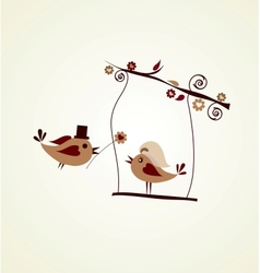 Wedding card groom bird giving a flower vector