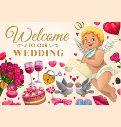 Wedding invitation angel with love message vector