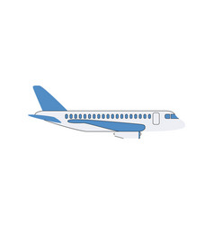 white airplane with blue wings vector image