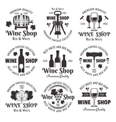 wine shop set black vintage emblems vector image