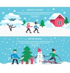 Winter Season 2 Flat Banners Set vector