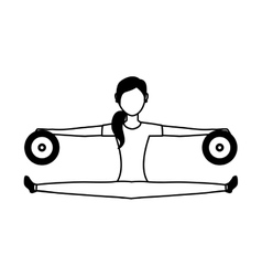 Woman athlete avatar character weight lifting vector