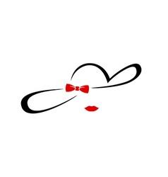 Woman elegant hat silhouette logo Glamorous vector