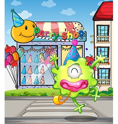 A happy monster from the party shop vector image vector image