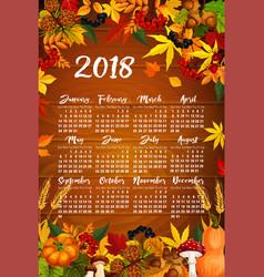 autumn maple leaf harvest calendar 2018 vector image