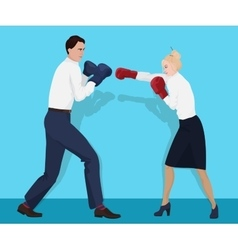 Businessman in boxing gloves having a fight with vector image vector image