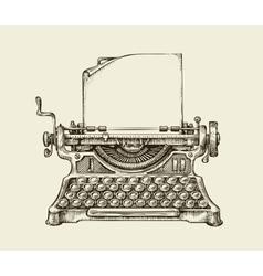Hand drawn vintage typewriter Sketch publishing vector image