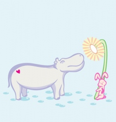 hippo and rabbit vector image