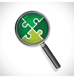 magnifying glass on a green jigsaw vector image vector image
