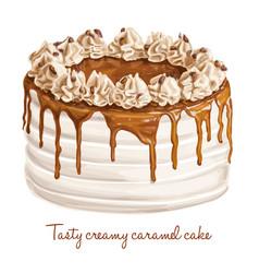tasty creamy caramel cake vector image vector image