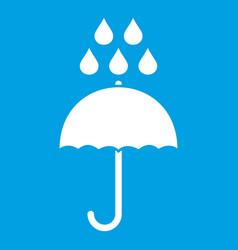 Umbrella and rain drops icon white vector