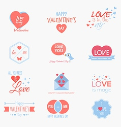 valentine badges and labels vector image vector image