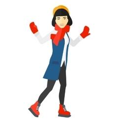 Woman ice skating vector image