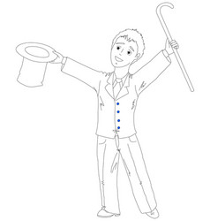 Young businessman with a hat and cane vector