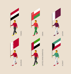 isometric 3d people with flags of middle east vector image vector image