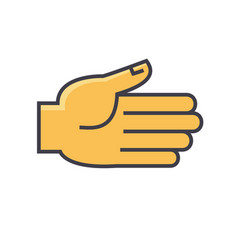Open hand gesture concept line icon vector