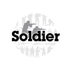 soldier black text soldier frame background vector image