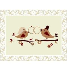 Wedding invitation with birds vector image vector image