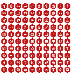 100 boxing icons hexagon red vector image vector image