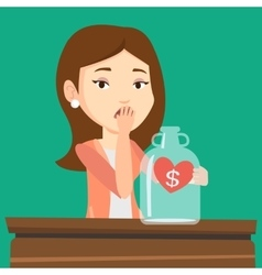 Bankrupt woman looking at empty money box vector image vector image