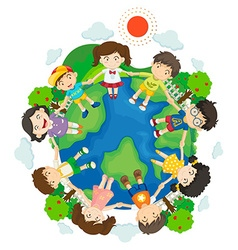 Children holding hands around the earth vector image vector image