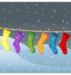 clothes line for Christmas socks vector image vector image