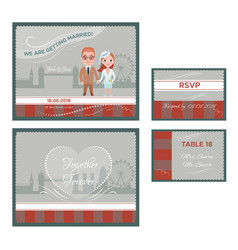 english wedding invitations cards set vector image