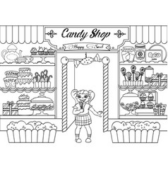 kids coloring girl in candy shop vector image