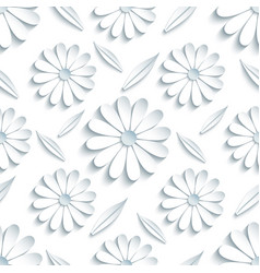 seamless pattern with 3d chamomille and leaf vector image