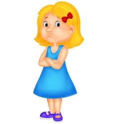 Angry girl cartoon vector