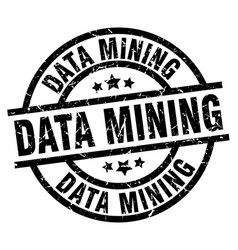 data mining round grunge black stamp vector image vector image