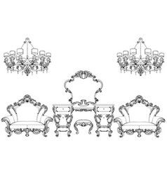 exquisite fabulous imperial baroque furniture and vector image vector image