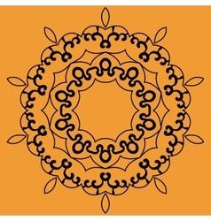 Outlined Mandala Print on Orange Background vector image vector image
