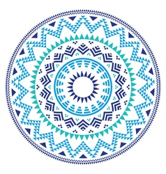 Tribal folk Aztec geometric pattern in circle vector image vector image