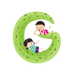 A Kid Leaning on a Letter G vector