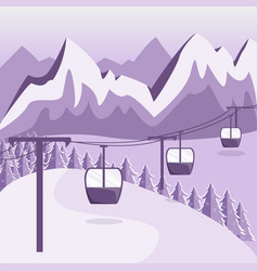A ski resort with a funicular with cabins vector