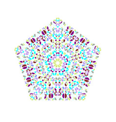 Abstract isolated ornate colorful petal pentagon vector