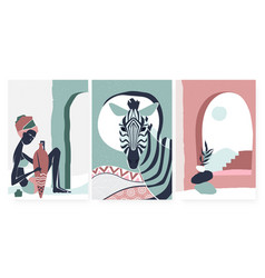 African boho tribe people and zebra animal summer vector