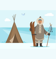 Arctic person with ski equipment and fish on stick vector