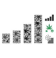 Bar chart composition of weed leaves vector