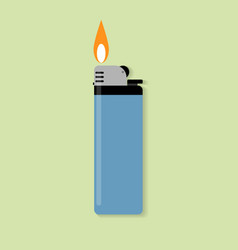 blue gas lighter with fire vector image