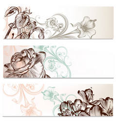 business backgrounds set in floral style vector image