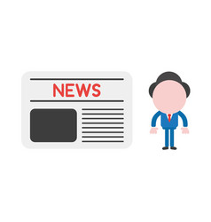businessman character with newspaper vector image
