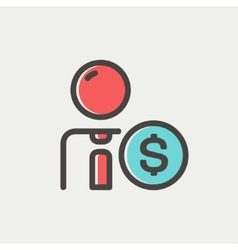 Businessman with dollar sign thin line icon vector