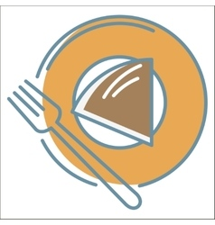 Cake on plate icon vector image