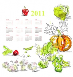 Calendar for 2011 with vegetable vector