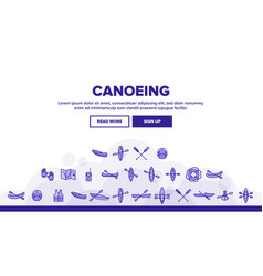 Canoeing active rest thin line icons set vector