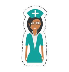 Cartoon nurse female with glasses uniform hat vector