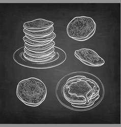 chalk sketch set pancakes vector image